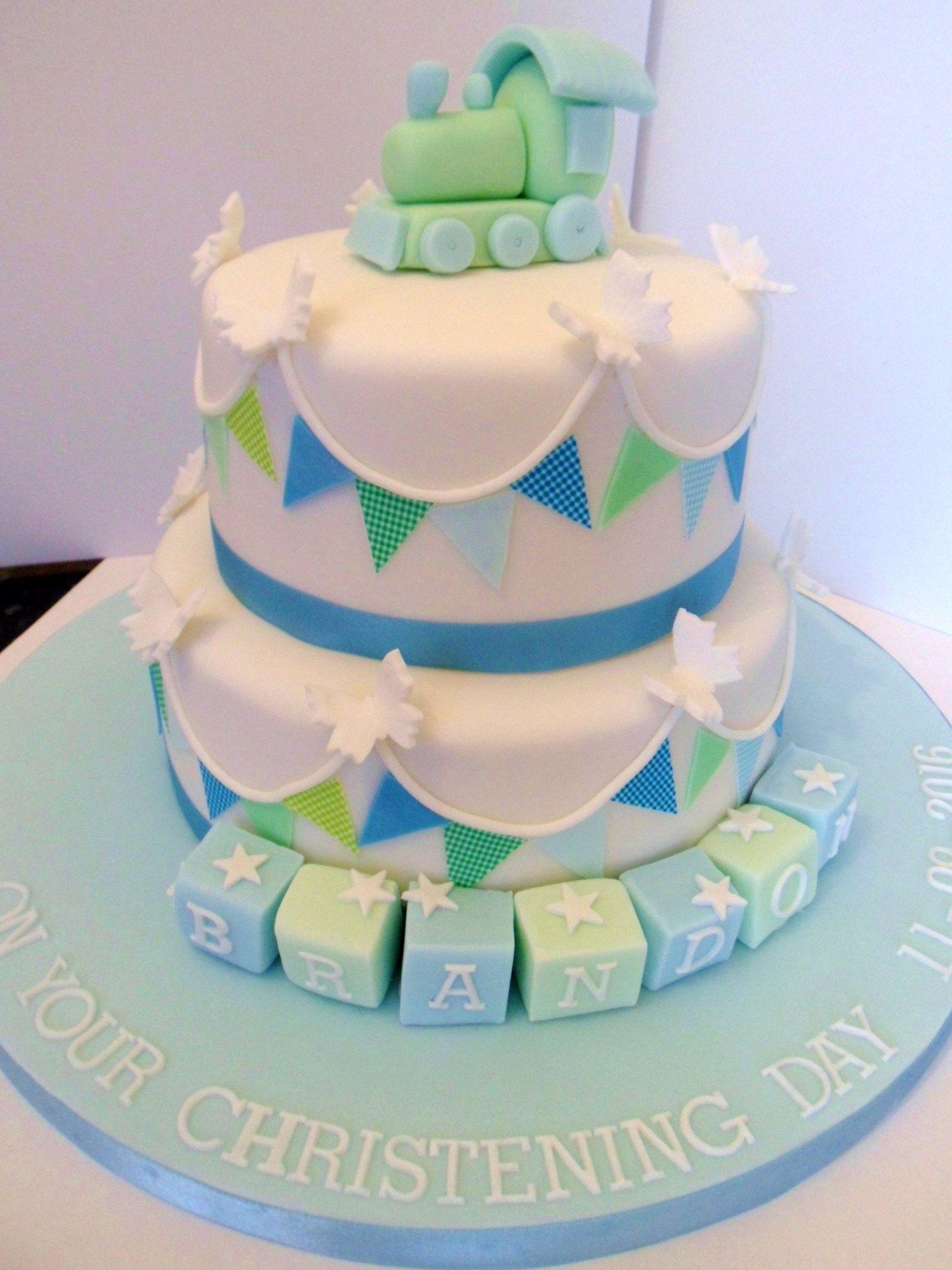 Surprising Boys 2 Tier Christening Cake With Images Cake Cake Creations Personalised Birthday Cards Veneteletsinfo