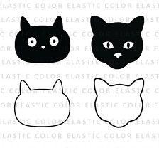 Cat Face Svg Cat Face Clipart Cat Face Digital Vector Svg Etsy Cat Face Clip Art Face Outline