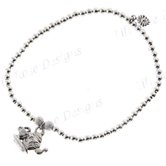 Fifirose 7 Tea Pot Charm Italian Beads 925 Sterling Silver Stretch Bracelet #teapotset