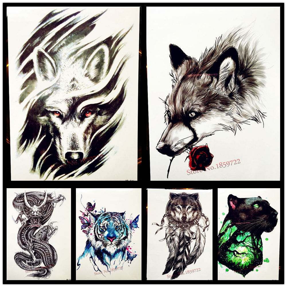 Goldocean 3d wind tribal wolf design waterproof temporary tattoo stickers women men body art tattoo arm