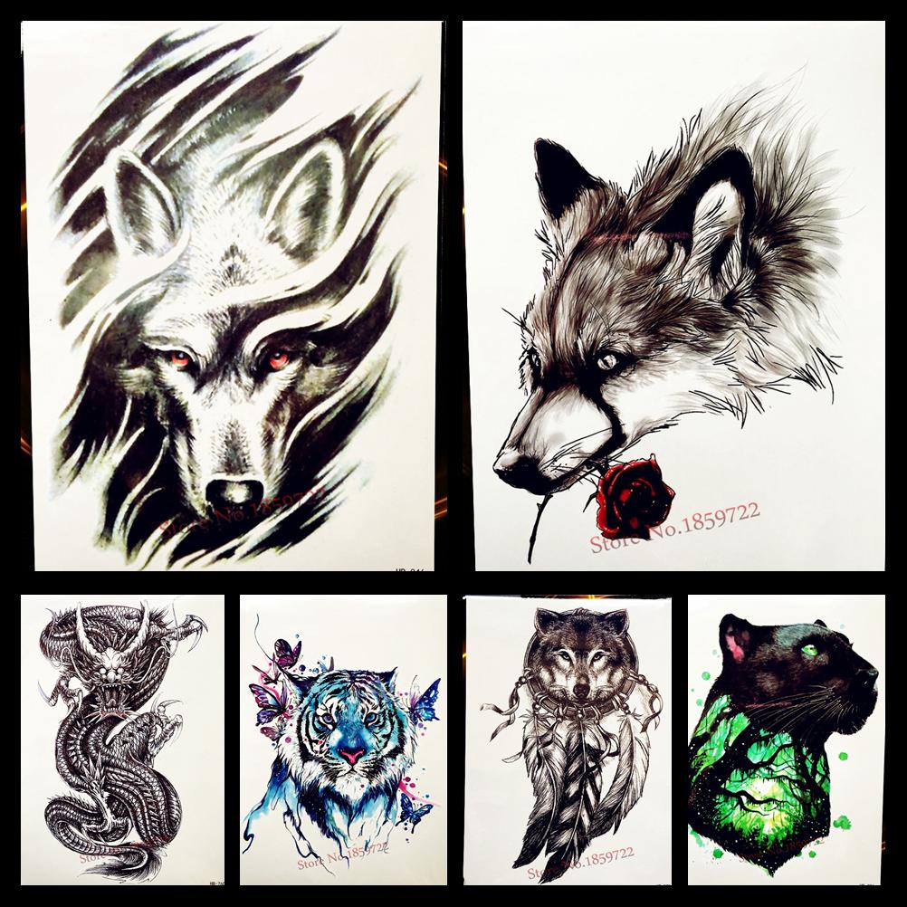 Goldocean 3d wind tribal wolf design waterproof temporary tattoo stickers women men body art tattoo arm