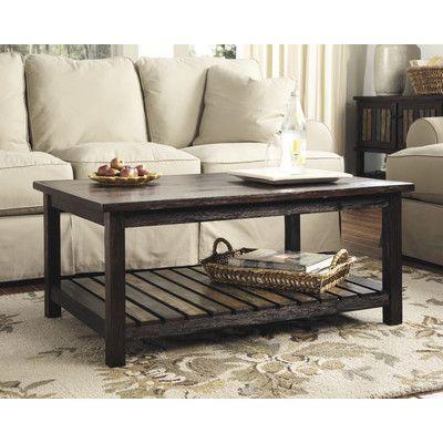 Beliveau Solid Wood Drum Coffee Table Mango Wood Coffee Table