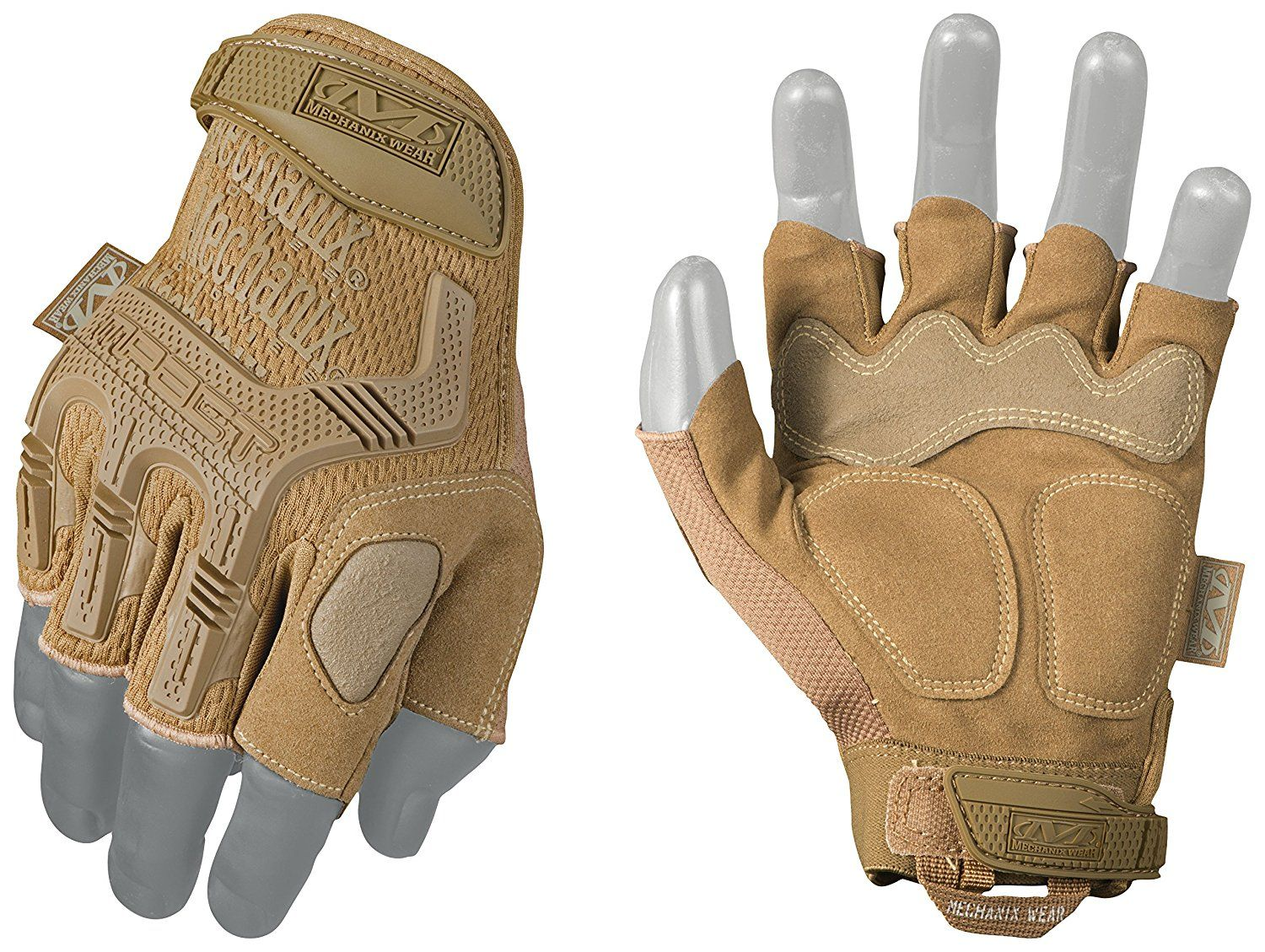 Mechanix Wear MPact Fingerless Coyote Gloves (Medium