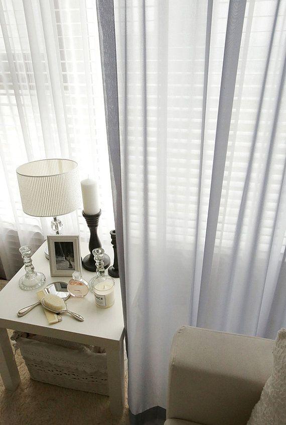 Gray Sheer Chiffon Curtains, Chiffon Voile Curtains, Window Sheer Curtains,  Curtain Panels,