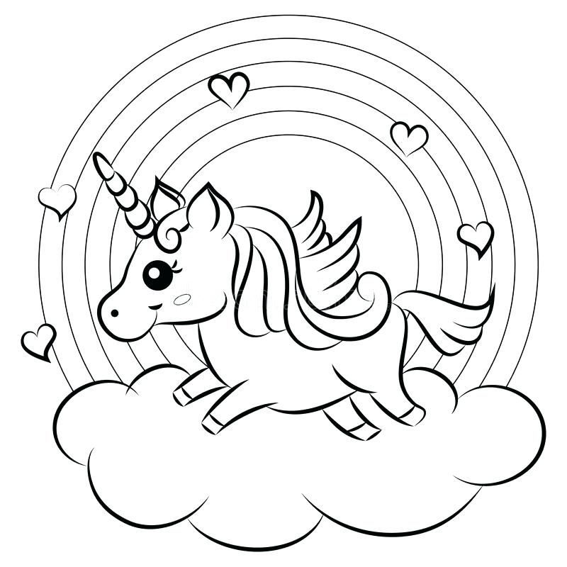 Coloring Pink Fluffy Unicorns Dancing On Rainbows Preschool