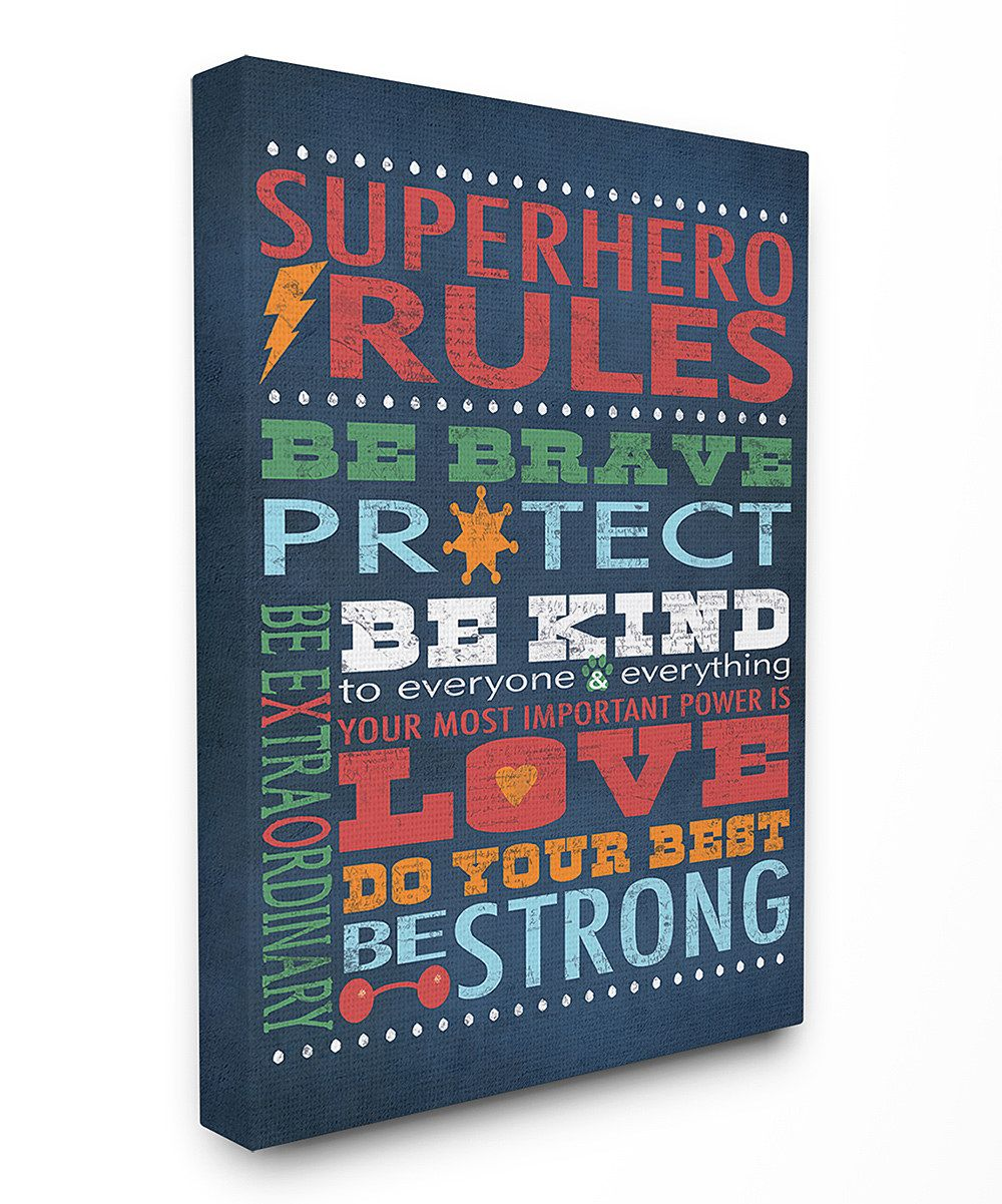 Look at this Navy 'Superhero Rules' Wrapped Canvas on #zulily today!
