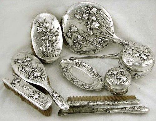 Japanese Sterling Silver Iris 10 Piece Dresser Set