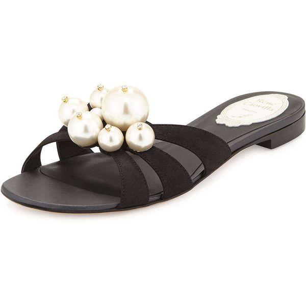 0ef5eb2b6 Rene Caovilla Pearly-Bead Flat Leather Sandal (52