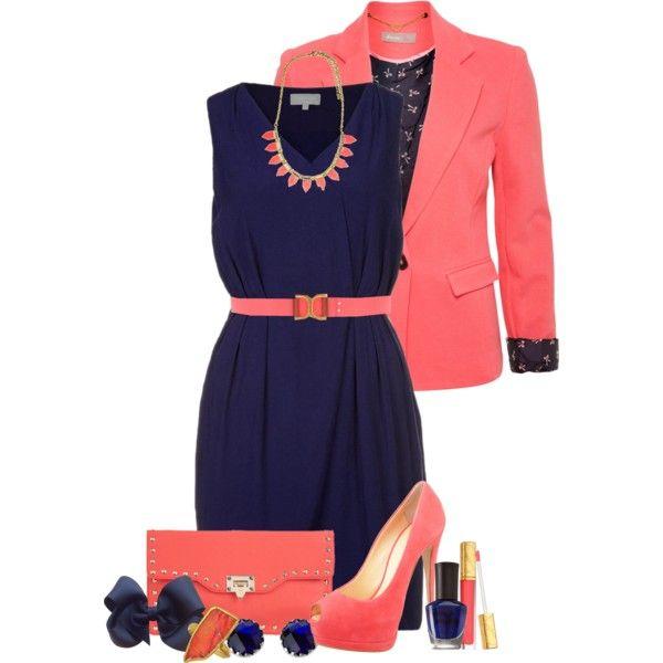Vestido azul marino con saco rojo