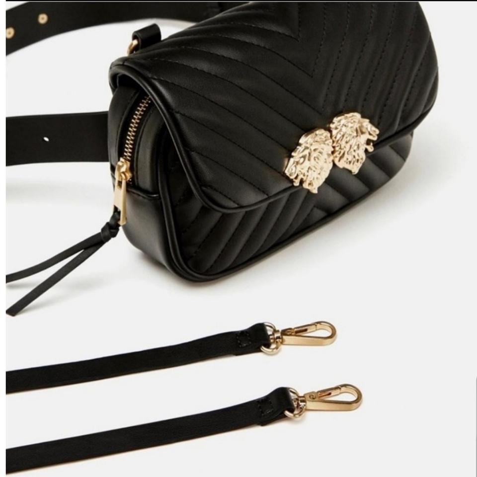 ZARA | Belt Lionhead Lion Detail Black Cross Body Bag