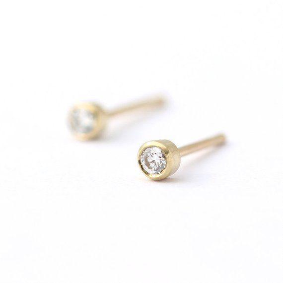 Small Diamond Studs Tiny Minimalist Gold Earrings Baby Dainty