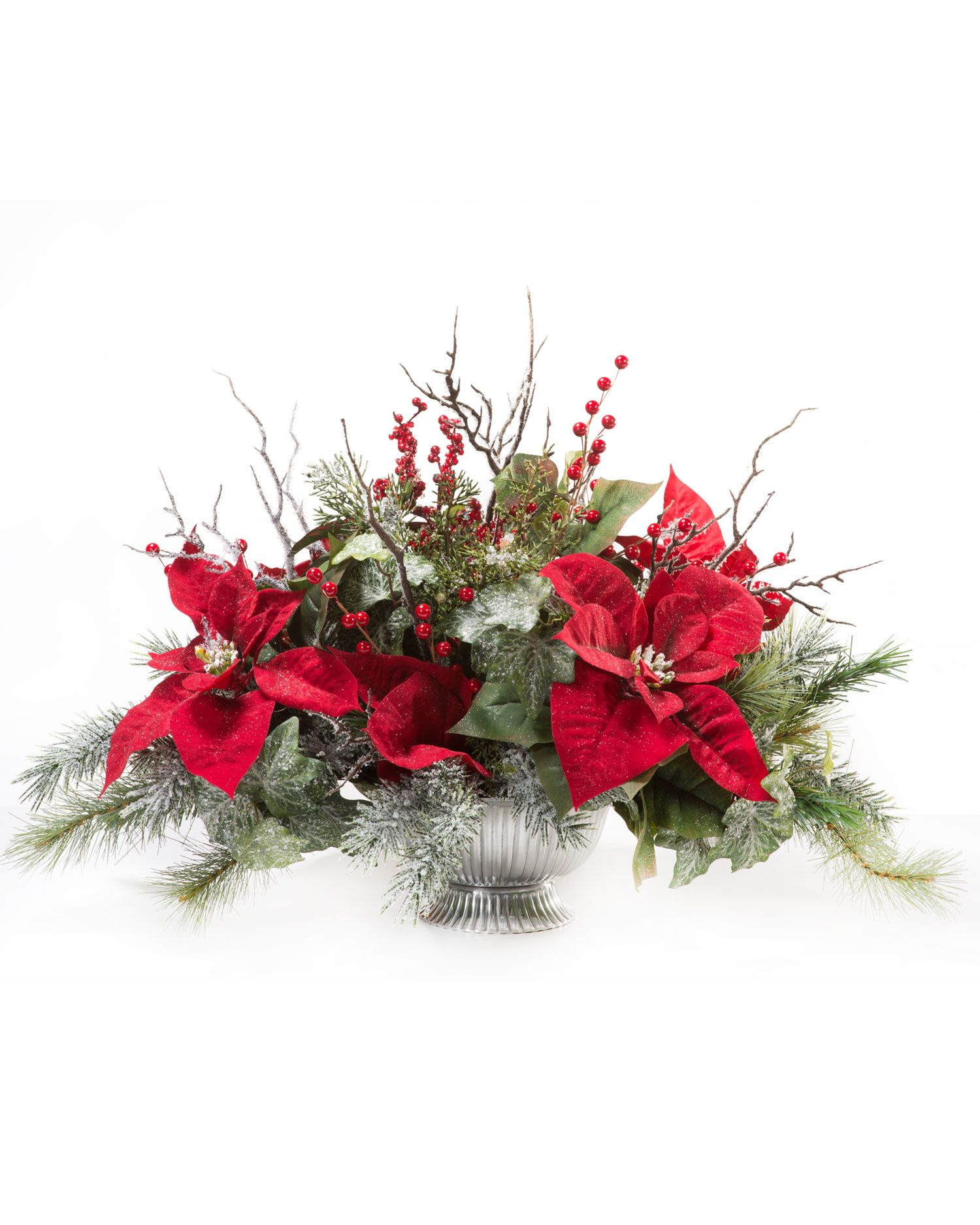 Poinsettia & Ice Crystal Silk Centerpiece in Red Silk