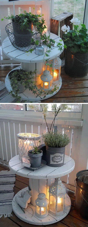 Photo of DIY Wire spool bord veranda lys.