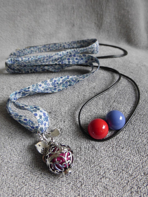 COMMANDE pour Sophievand : Kit : 2 billes rouge et bleu + 1 cordon + 1 Bola de grossesse avec motifs arabesques et navettes, bille : Maman par bola-de-grossesse