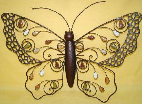 Decoración de la pared de la mariposa del hierro del metal para el ...