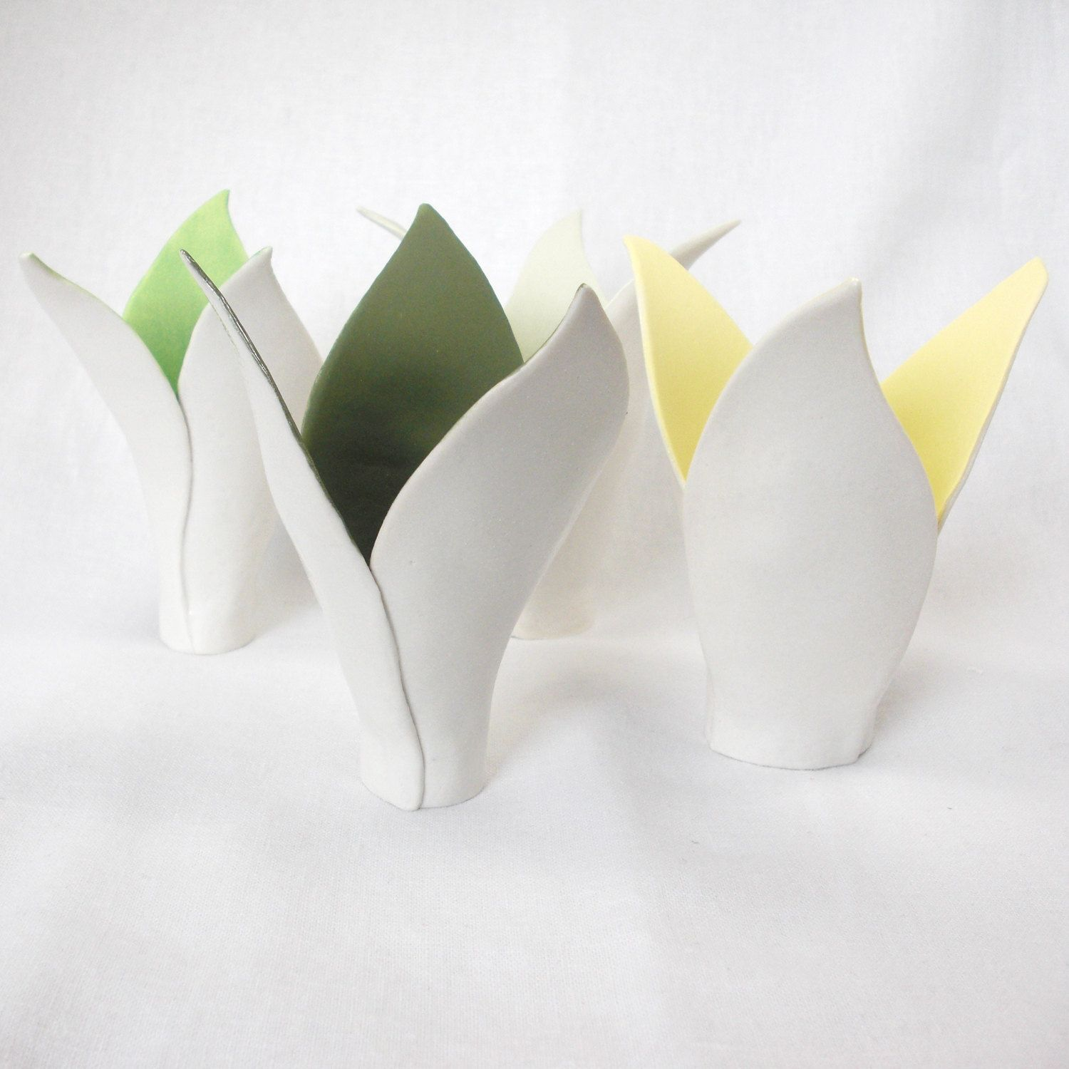 White porcelain lilly vase in a choice of colours, fern