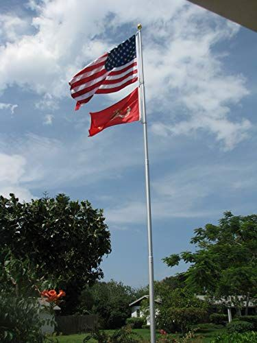 25 Telepole Superior 1 Telescoping Flagpole 2 75 Base Diameter 10 Gauge Aluminum Silver Home Decor Electronics On Amazon In 2019 Telescoping Fla