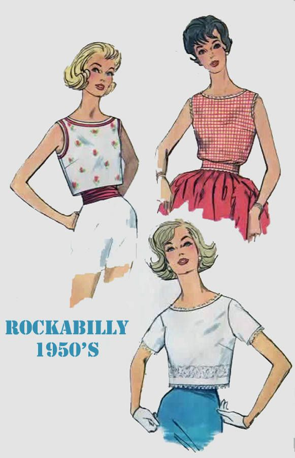 Vintage 1950s Misses TOPS And BLOUSE Summer Tops Midriff Top Sewing Pattern Simplicity 3480