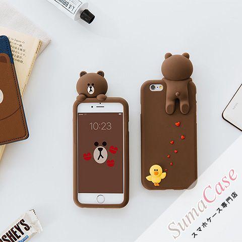 63029e8512 LINE FRIENDS(ラインフレンズ)ブラウン かわいい カバー型 シリコンケース for iPhone8/7S/7/6S/6/Plus