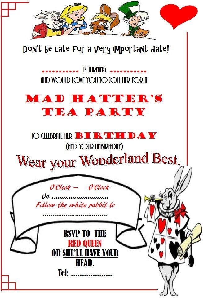 Alice In Wonderland Invitations Blank Template Alice In