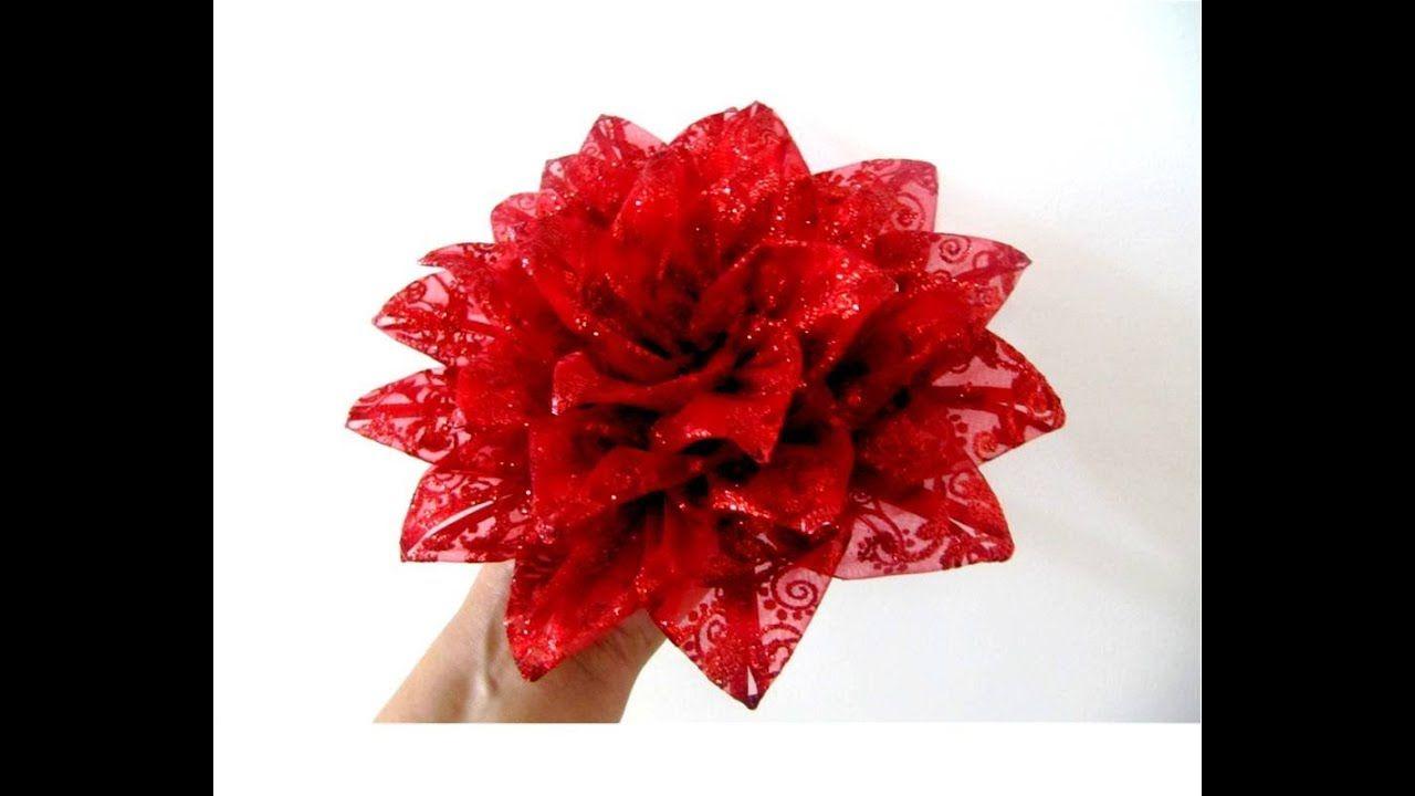 Moños Flores Nochebuena De Navidad En Cintas De Organza Brillante Cinta De Organza Bricolaje De Decoraciones De Navidad Cintas Navideñas