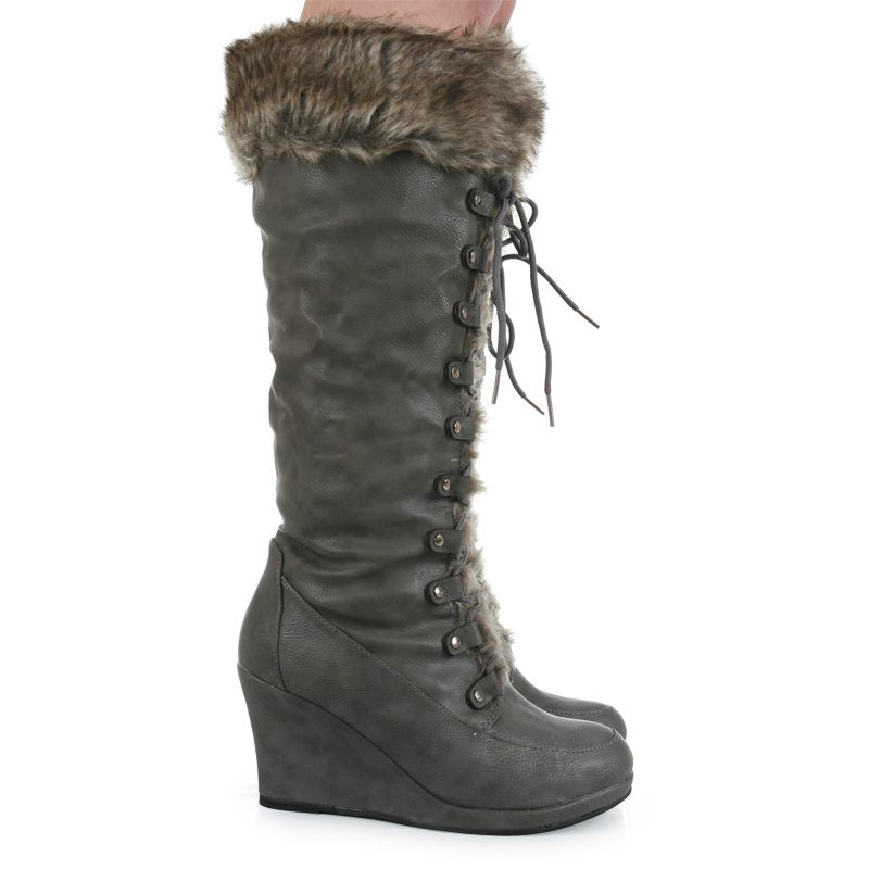Women's Trendy Solid Suede Faux Fur Round Toe Pull On Buckle High Wedge Heel Boots