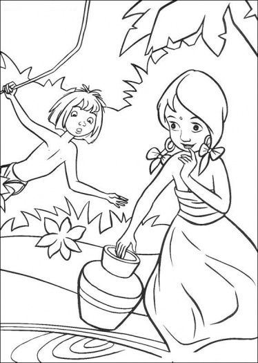 Indian Girl And Mowgli | Disney coloring pages, Coloring books ...