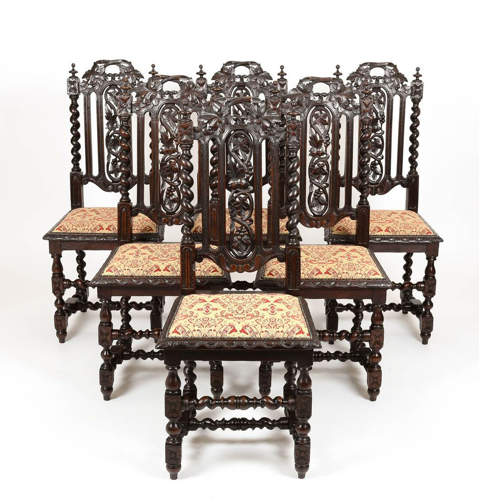 High back antique chairs - Antique Set Of 6 Victorian Gothic Oak High Back Carved Dining Chairs Furniture
