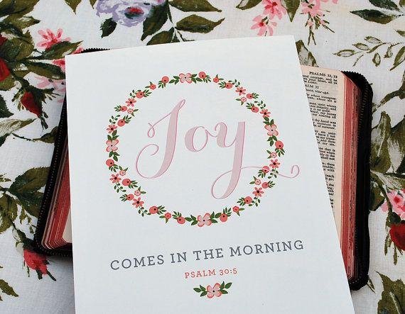 Morning Joy Print 8 x 10 Wall Print Psalm by StephanieCreekmur