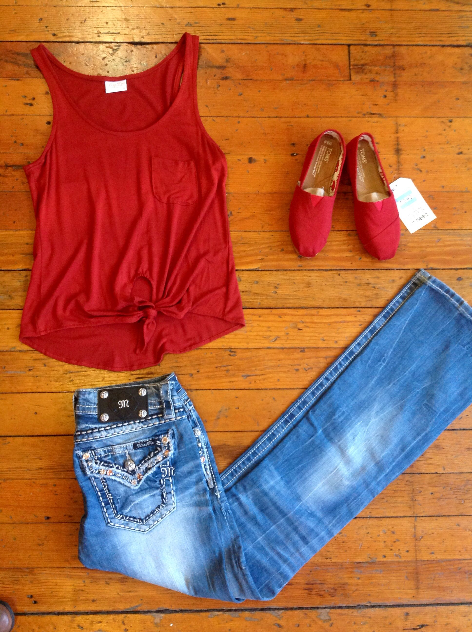 Valentines outfit with Miss me jeans Lucy Love Tank and Amazing red Toms