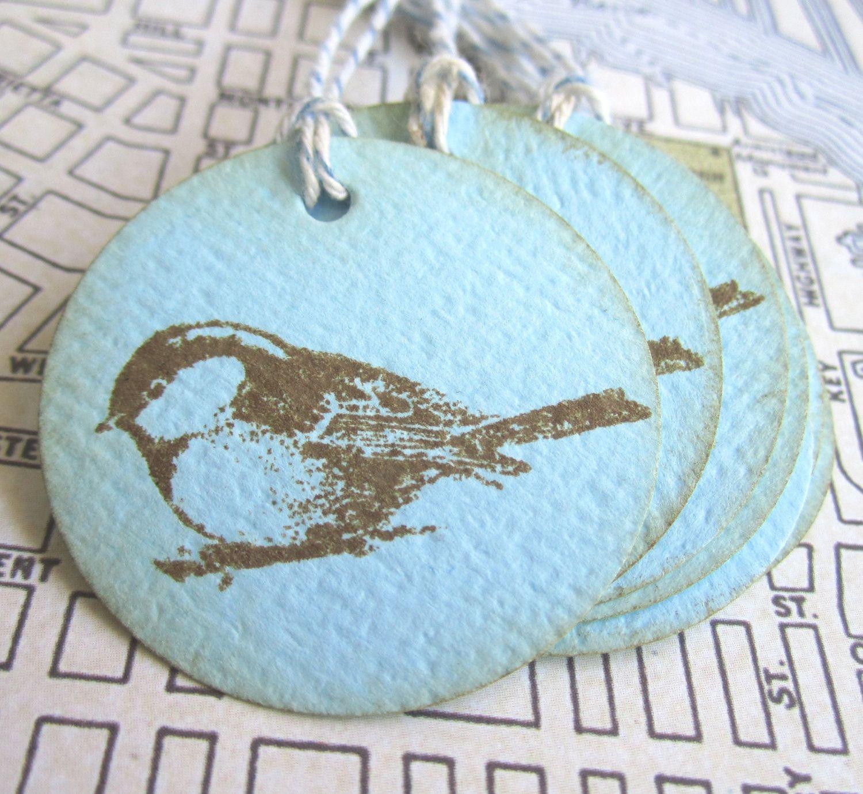 Blue Bird Tag T063 - Set of 12. $3.50, via Etsy.