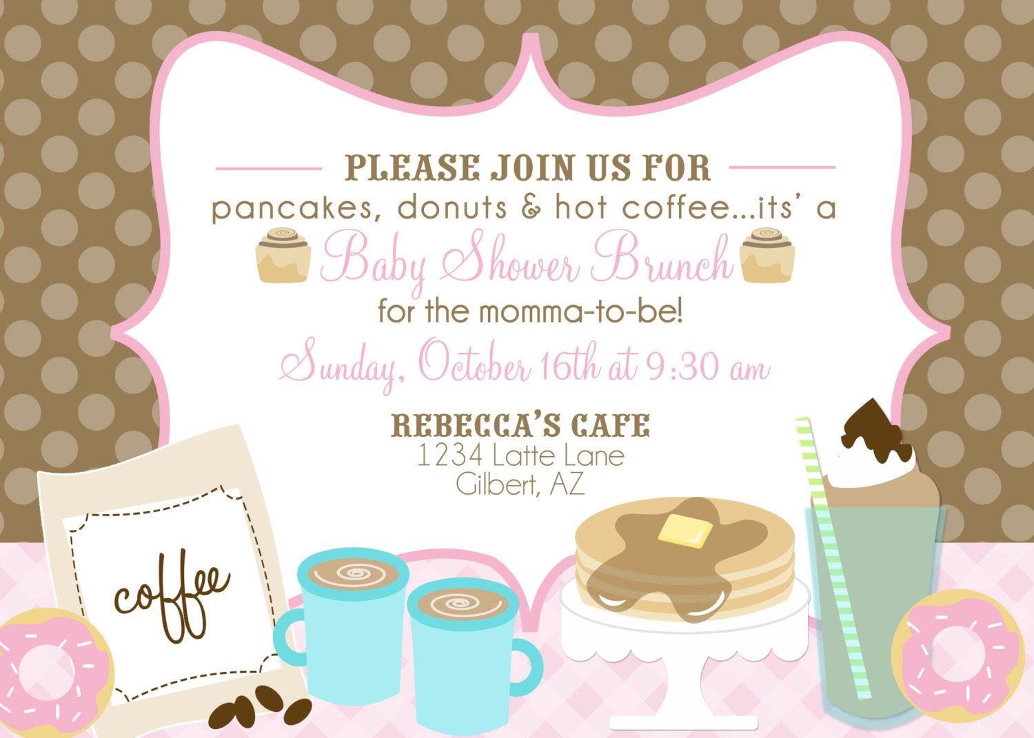 Bun in the Oven Baby Shower Printable Party Invitation - coffee ...