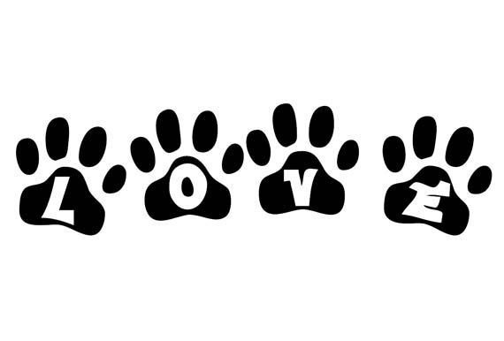 LOVE paw print Vinyl Decal for Wall, Glass, Mirror
