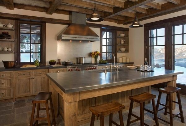 Rustic Kitchen Design Zinc Countertop Kitchen Island With Seating Wood Base  Wooden Bar Stools