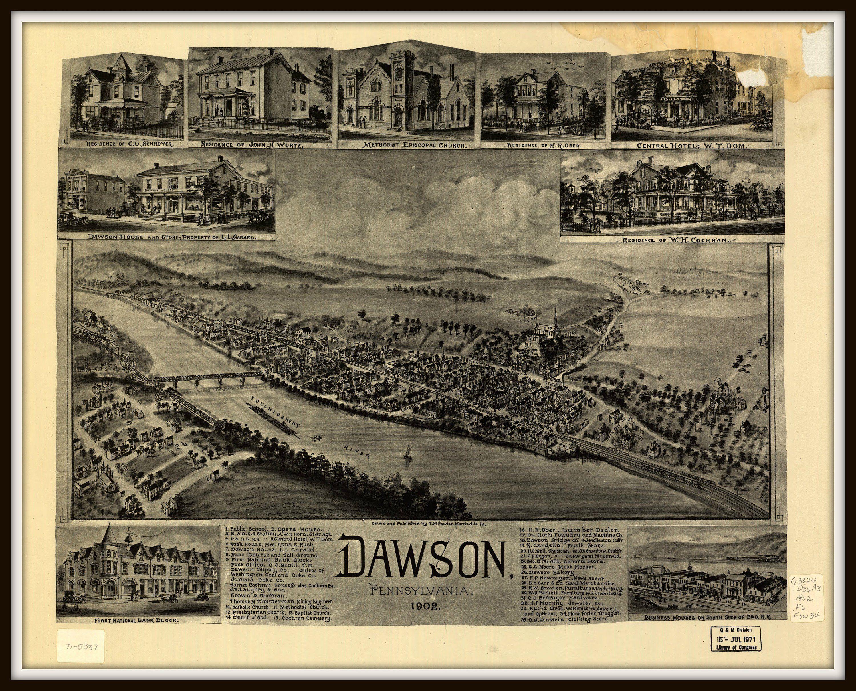 Edmond Oklahoma 1891 Historic Panoramic Town Map 24x36