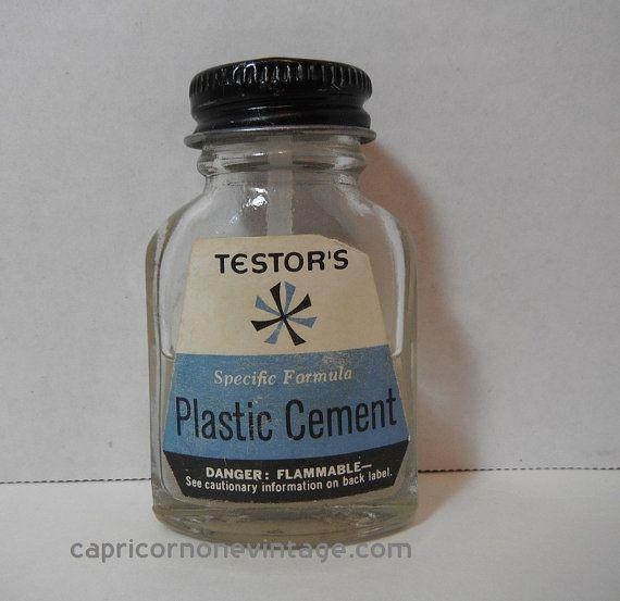 Vintage 1950s Testor's Plastic Cement Bottle by