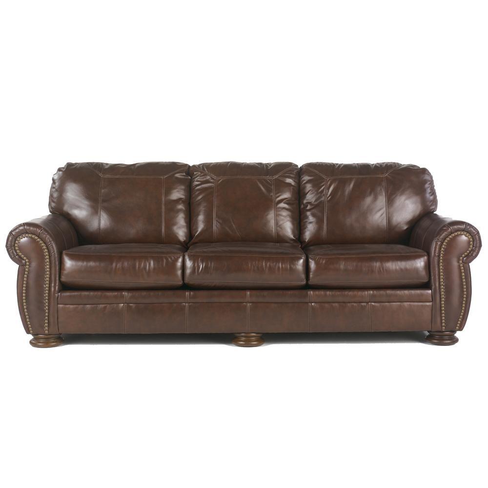 Palmer Walnut 101 Inch Leather Sofa With Nailhead Trim By Ashley Millennium My New Couch Walnut Sofa Ashley Furniture Leather Sofa