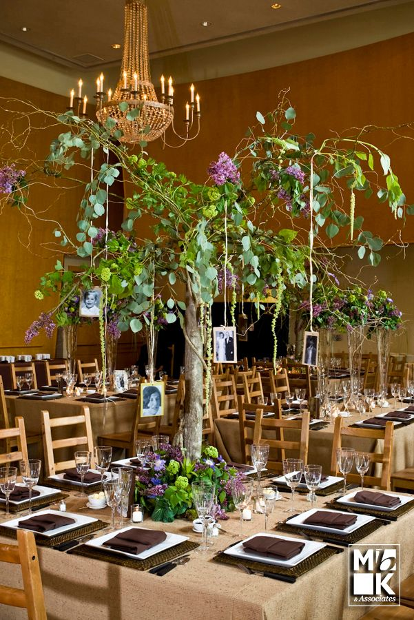 Family Tree Table Centerpiece Complete With Pictures Of The Guests At Each 50th Wedding
