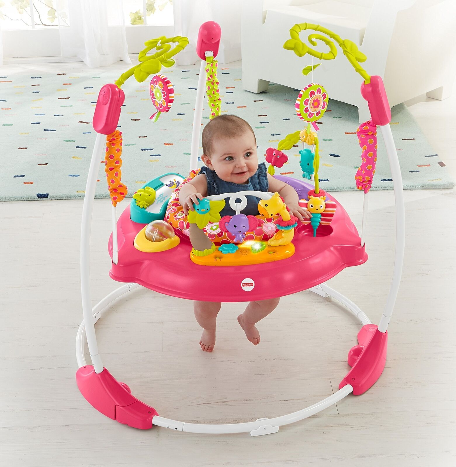 Fisher Price Jumperoo Baby Girl Jumper Bouncer Activity Seat Toys Sound Pink Col Baby Girl Toys Baby Equipment New Baby Products