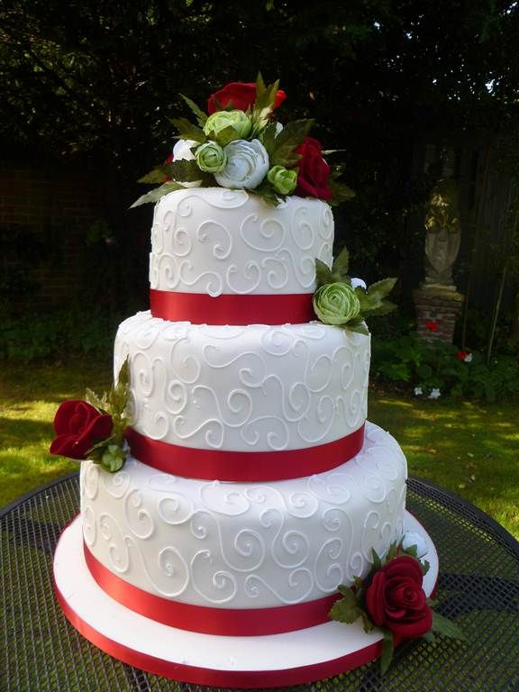 3 tier with red ribbon Wedding Cake ideas Pinterest