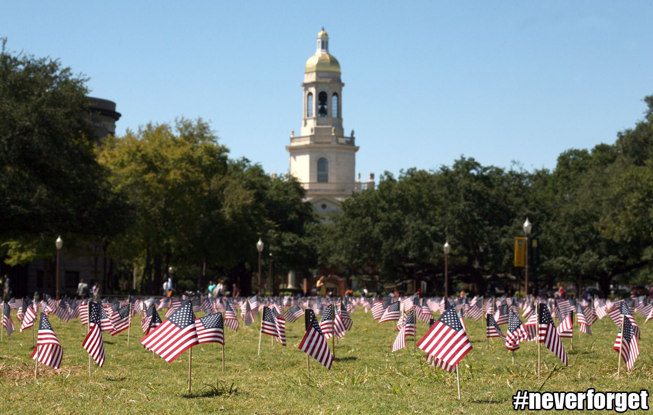 Flags at baylor university honor the victims of 911 on