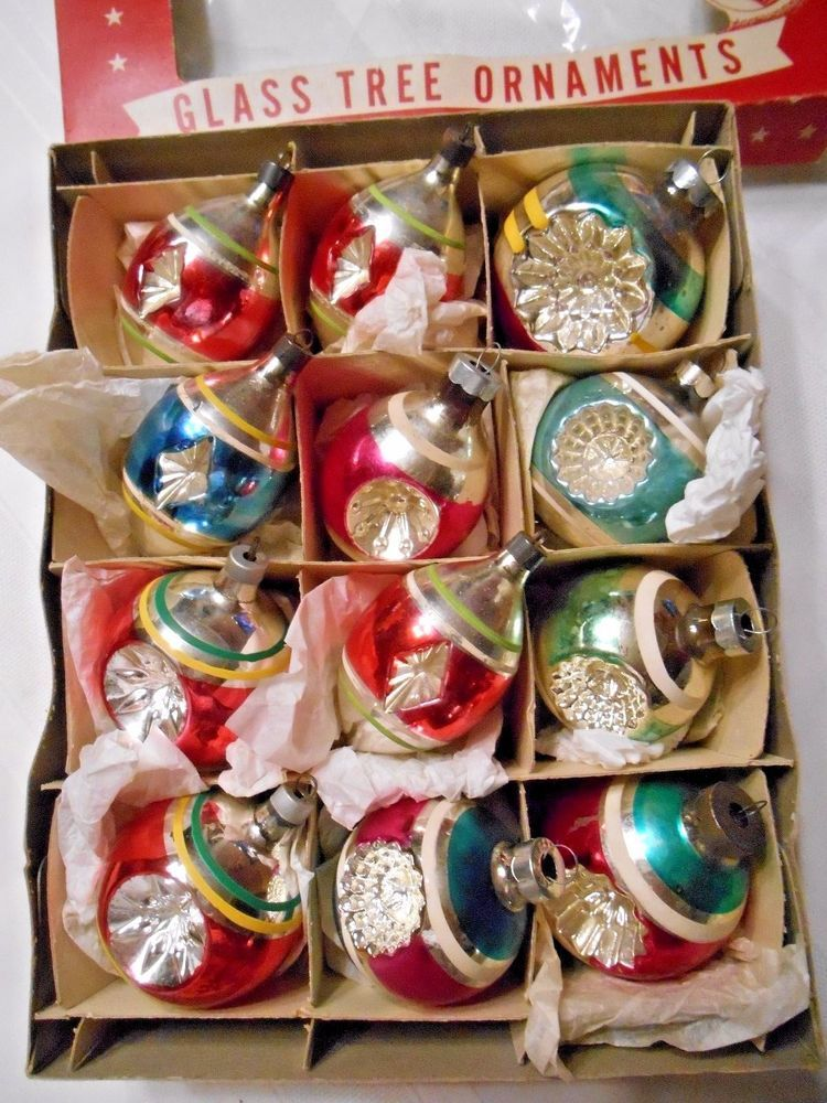 Vintage Mixed Brands Indent Glass Christmas Ornaments In Box Mint Made In Usa Glass Christmas Ornaments Christmas Ornaments Ornaments