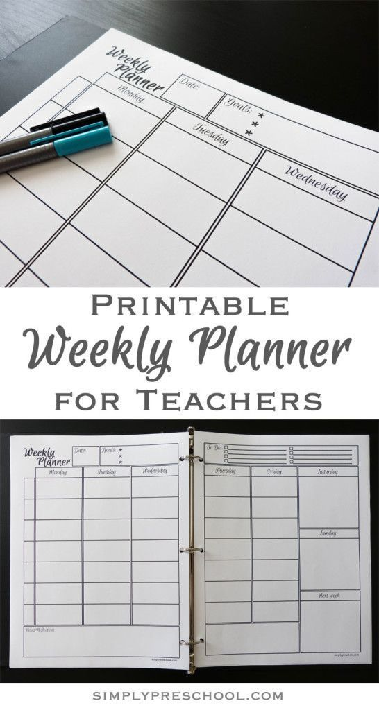 Free Printable Weekly Lesson Planner! Includes goals, to do list - Agenda Planner Template