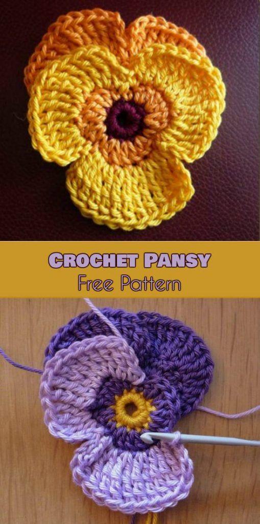 Pansy Flowers Crochet Patterns Free #crochetflowers