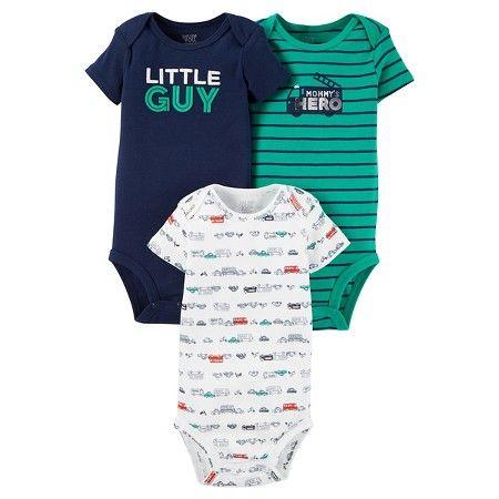 383e8756c Baby Boys  3 Pack Short Sleeve Little Guy Bodysuit Set - Just One ...