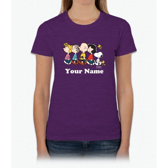 Peanuts Walking No Bg Personalized Charlie Brown Ladies T-Shirt