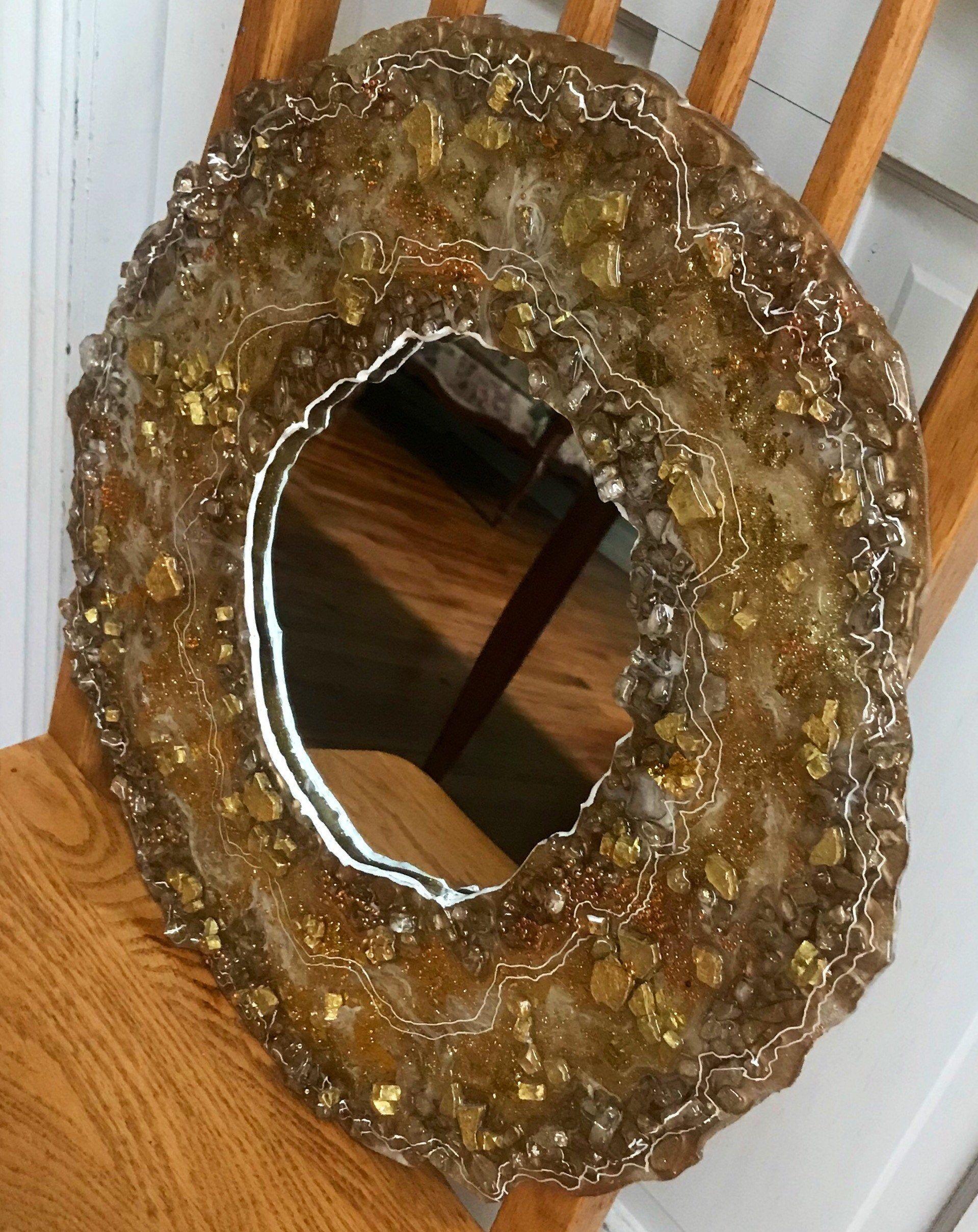 Gold Metallic Bronze Golden Geode Agate Stone Crushed Glass Etsy In 2020 Golden Geode Crushed Glass Wall Mirror With Shelf