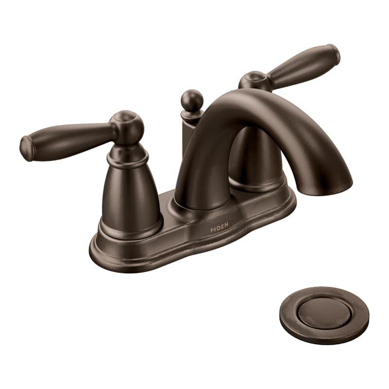 Photo of Moen 6610-2PKG Brantford Double Handle Centerset Bathroom Faucet – Pop-Up Drain Oil Rubbed Bronze Faucet Bathroom Sink Faucets Double Handle