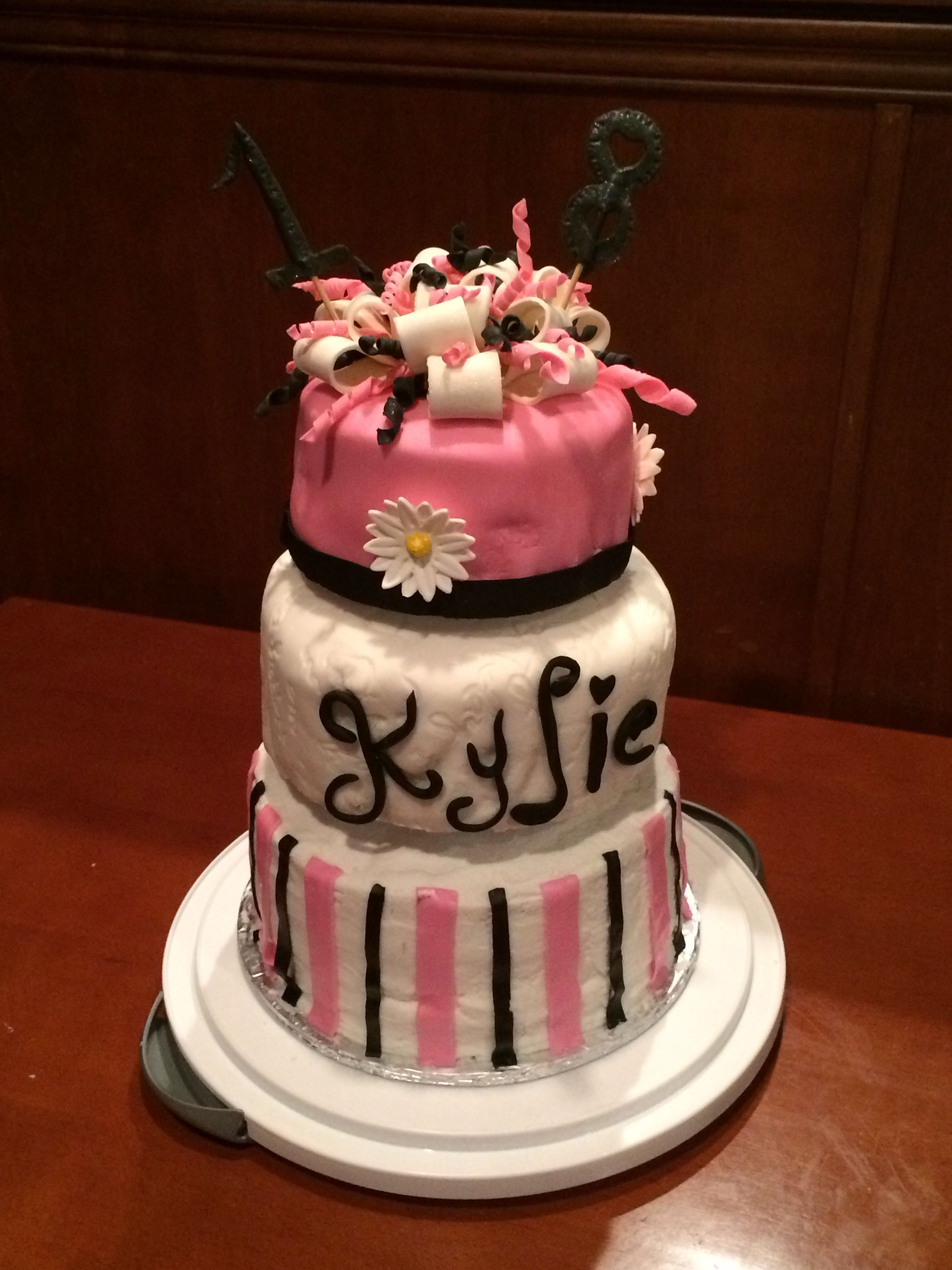 3 tier fondant and buttercream pink happy birthday 18 year