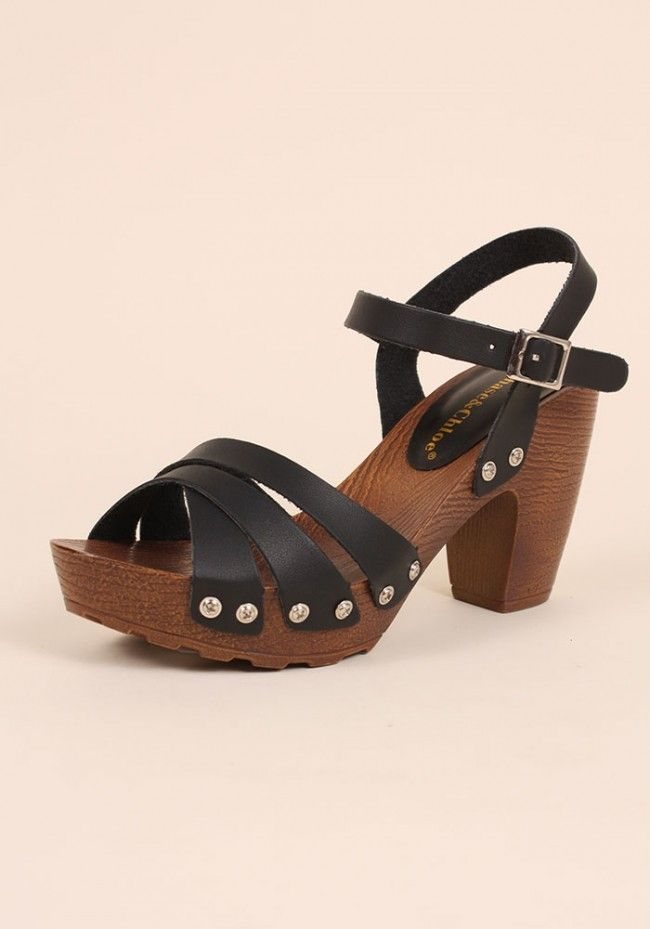 99075fc16ad4 Chase   Chloe Strappy Wooden Heel Clog Sandals - Abbey-1